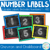 Chevron and Chalkboard Number Labels: Editable, Classroom