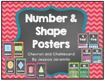 Chevron and Chalkboard Number and Shapes Posters