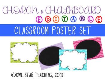 Chevron and Chalkboard Poster Templates- EDITABLE