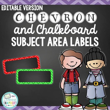Chevron and Chalkboard Subject Area Labels: Editable, Clas