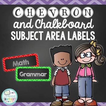 Chevron and Chalkboard Subject Area Labels: Freebie, Classroom Decor