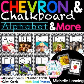 Chevron and Chalkboard Themed Alphabet,Colors and Numbers with Real photos!
