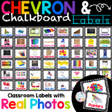 Chevron and Chalkboard Themed Labels for the classroom with Real photos!