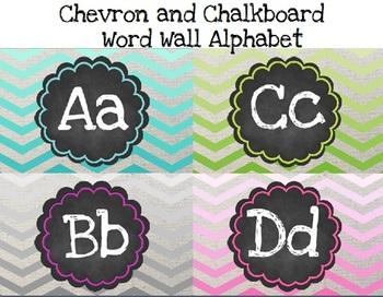 Chevron and Chalkboard Word Wall Alphabet