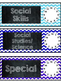 Chevron and Chalkboard classroom Schedule cards with clock