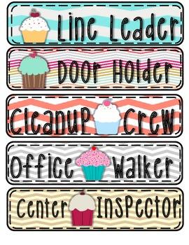Chevron and Cupcakes Job Clip Chart