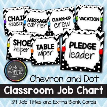 Rainbow Chevron and Dots Classroom Job Chart (Includes Blank Cards)
