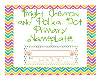Chevron and Polka Dots Nameplates or Desk Tags - Bright Colors