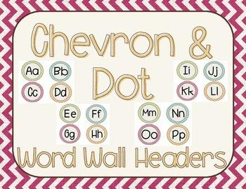Chevron and Dots Word Wall Headers