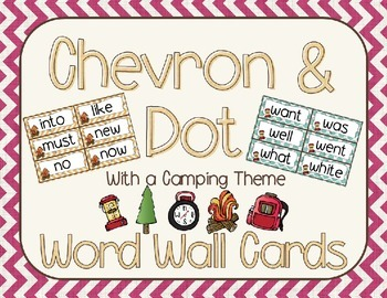 Chevron and Dots (with a camping theme) Word Wall Cards {Editable}