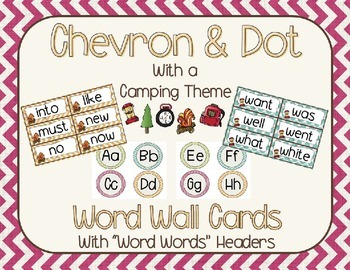 Chevron and Dots (camping theme) Editable Word Wall Cards &  Headers {Bundle}