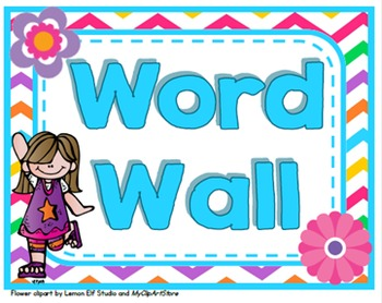 ~Chevron and Flower Themed Word Wall~  {Editable Cards Included}