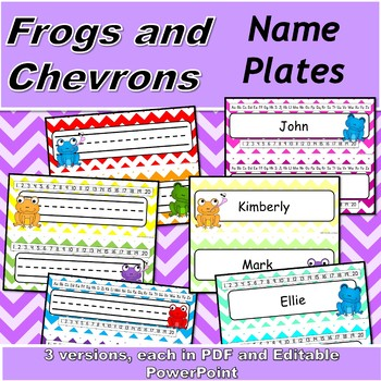 Chevron and Frogs Name Plates