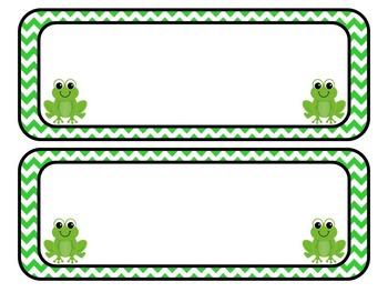 Chevron and Frogs Subject Area Labels: Editable, Classroom Decor, Organization