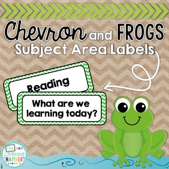 Chevron and Frogs Subject Area Labels: Freebie, Classroom