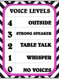 Chevron and Hot Pink Voice Levels Chart