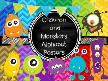 Chevron and Monsters Alphabet Posters