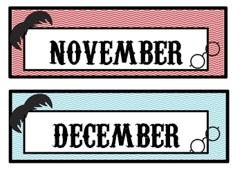 Chevron and Mustache Calendar Headers