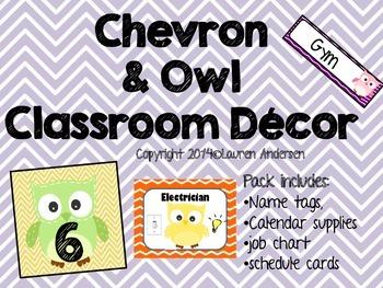 Chevron and Owl Classroom Decor Set