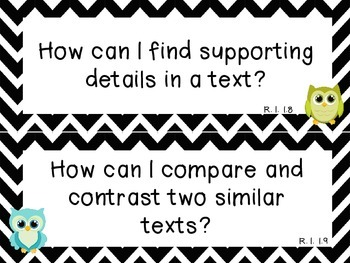 Chevron and Owl ELA and Math Common Core Essential Questions for First Grade