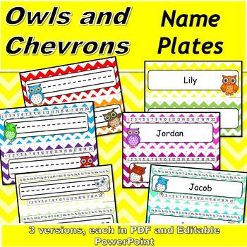 Chevron and Owl Name Plates