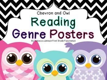 Chevron and Owl Reading Genre posters