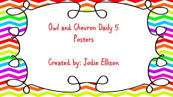 Chevron and Owl Themed Daily 5 Posters