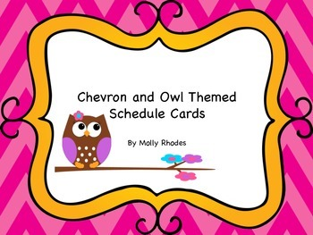 Chevron and Owl Themed Daily Schedule Cards