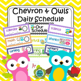 Chevron and Owls Class Schedule - Editable (4 options included)
