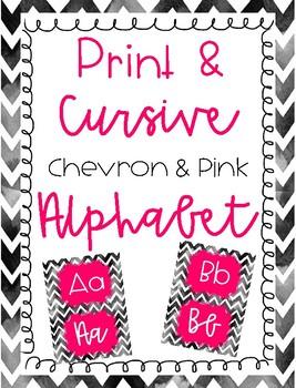 Chevron and Pink Print and Cursive Alphabet