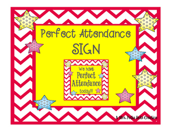 Chevron and Polka Dot Attendance Door Sign
