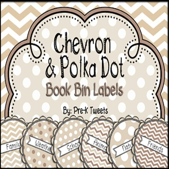 Chevron and Polka Dot Book Bin Labels