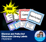 Chevron and Polka Dot Classroom Library Labels for Middle
