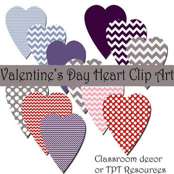 Chevron and Polka Dot Heart Valentine's Day Clip Art