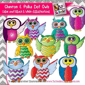 Chevron and Polka Dot Owls clip art
