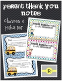 Chevron and Polka Dot Parent Thank You Notes