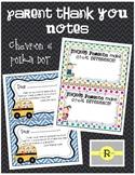 Chevron and Polka Dot Parent Thank You Notes