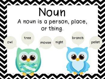 Chevron and Owl Parts of Speech posters