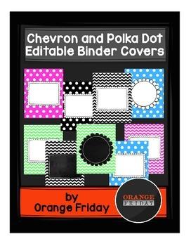 Chevron and Polka Dot Editable Binder Covers