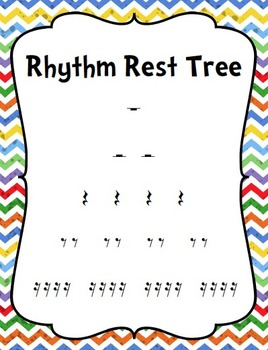 Chevron and Polka Dot Rhythm Note and Rest Posters and Rhythm Trees