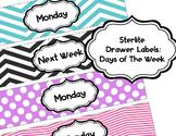 Chevron and Polka Dot Sterlite Drawer Labels Days of Week