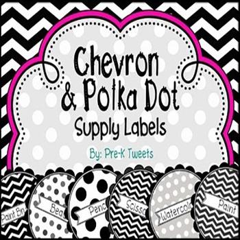 Chevron and Polka Dot Supply Labels