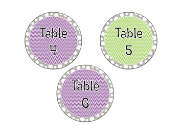 Chevron and Polka Dot Table Numbers