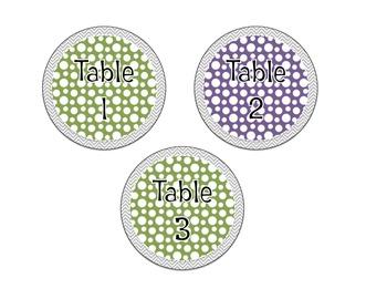 Chevron and Polka Dot Table Numbers