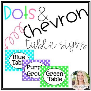 Chevron and Polka Dot Table Signs