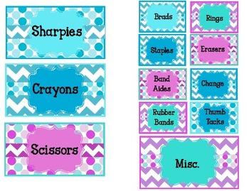 Chevron and Polka Dot Toolbox Labels {Editable}
