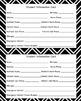 Chevron and Polka Dot themedStudent Information Cards