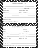 Chevron and Polka Dot themedStudent Information Cards