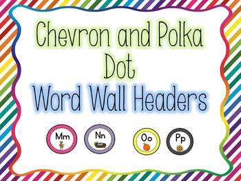Chevron and Polka Dots Word Wall Headers