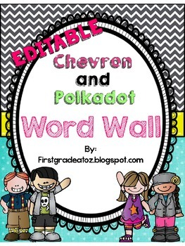Chevron and Polkadot Editable Word Wall